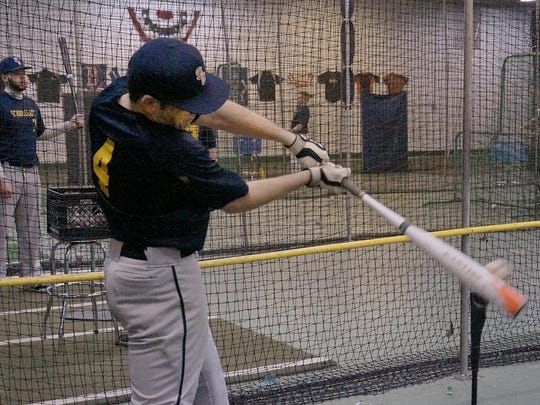 Wednesday was a good day for Jared Merandi to work on his swing. Merandi played high school baseball for the Plymouth Wildcats.