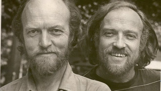 This 1975 photo depicts BoarsHead founder Richard Thomsen (left) and John Peakes. The two former University of Iowa professors started the theater in 1966.