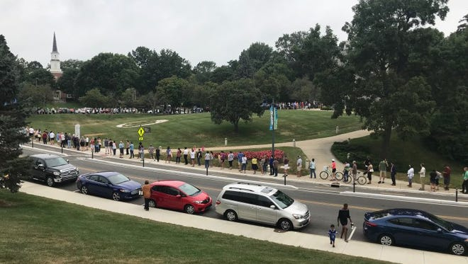 This was the line to get eclipse glasses at Butler's Holcomb Observatory Thursday morning.