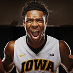 Iowa junior forward Dale Jones poses for a portrait during the men's basketball media day in Iowa City on Wednesday, October 7, 2015.
