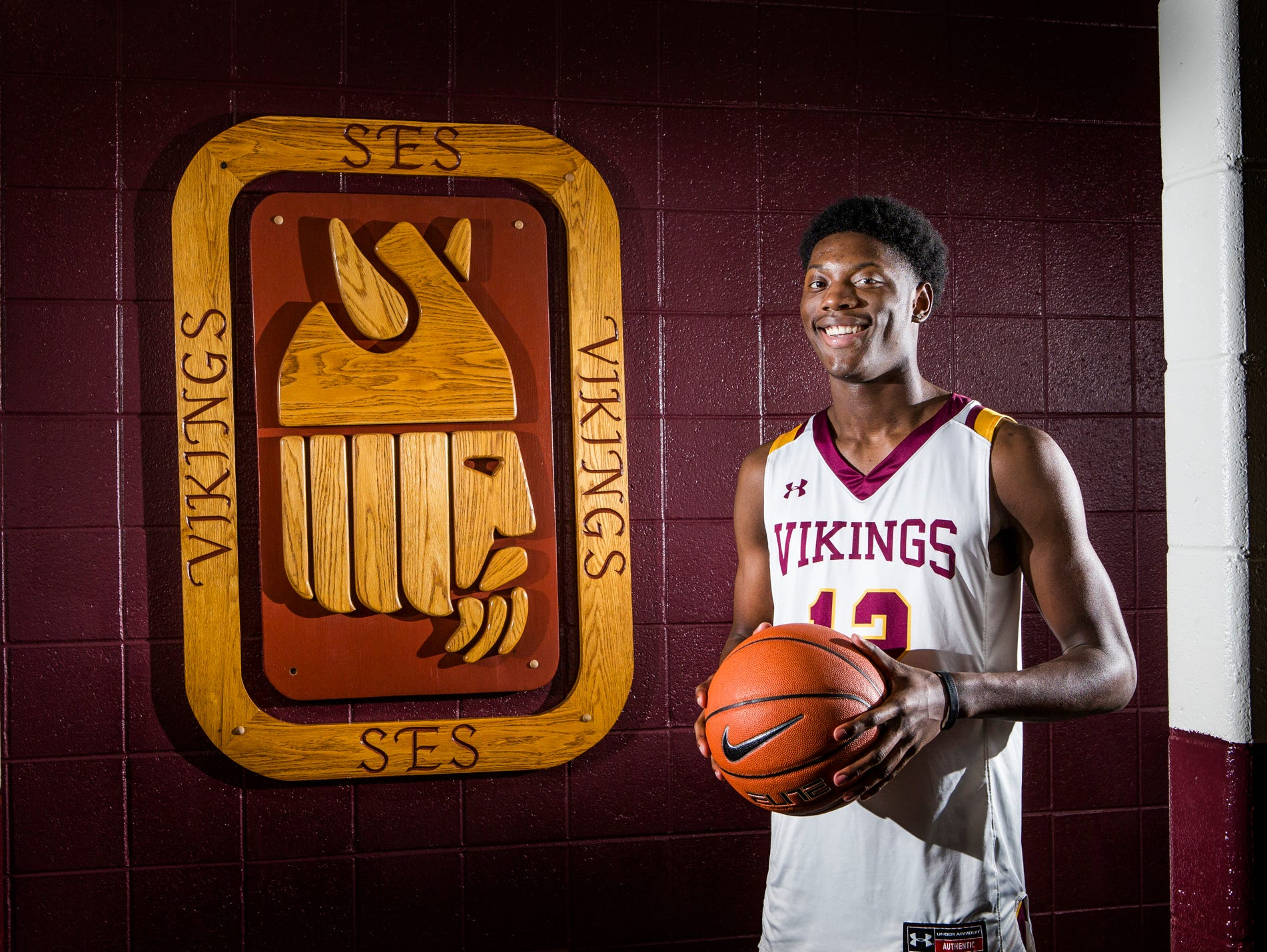 St. Elizabeth boy's basketball guard Jordan Money poses for a portrait in the locker room at St. Elizabeth High School in Wilmington on Monday afternoon.