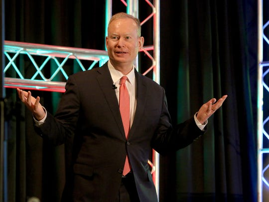 Oklahoma City Mayor Mitch Cornett presents the  keynote speech at the Wichita Falls Chamber of Commerce 27th annual Economic Forum Tuesday at the Wichita Falls Country Club.