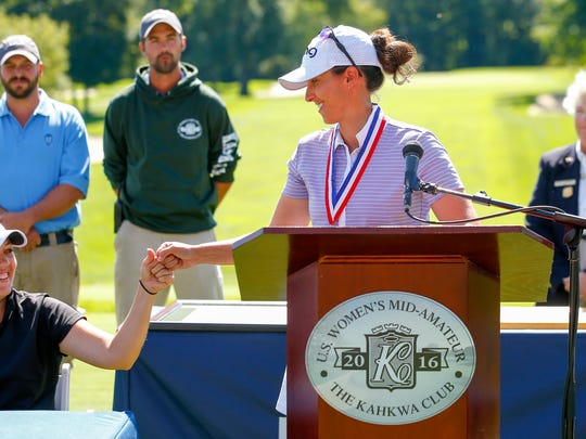 Shannon Johnson with Julia Potter at the awards ceremonies during the final round of match play at the 2016 U.S. Women's Mid-Amateur at The Kahkwa Club in Erie, Pa. on Thursday, Sept. 15, 2016. (Copyright USGA/Jared Wickerham)