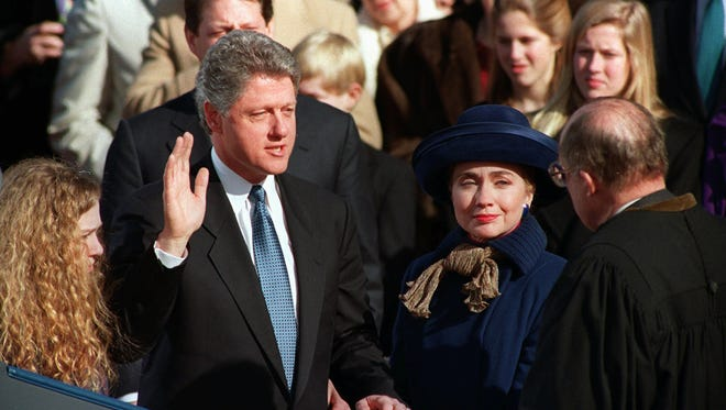 Bill and Hillary Clinton are shown during his inauguration as President of the United States.
