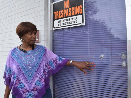Wanda Gilmore says she and others often have to clean up trash and worse to get in the United Educatiional Missionary Baptist Association headquarters on Bank Drive.