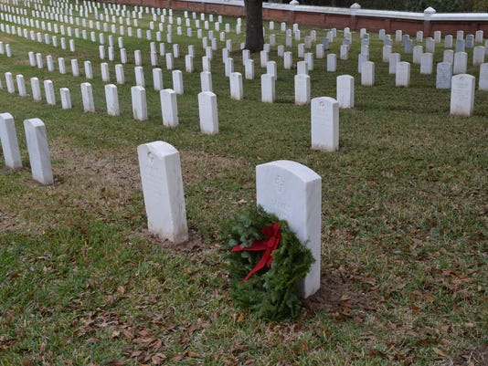 A wreath was placed on the gravesite of the late James Irvin, an Air Force veteran who served in World War II and Korea, at Alexandria National Cemetery.