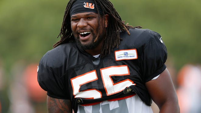 Cincinnati Bengals linebacker Vontaze Burfict was all smiles after a play during training camp downtown.