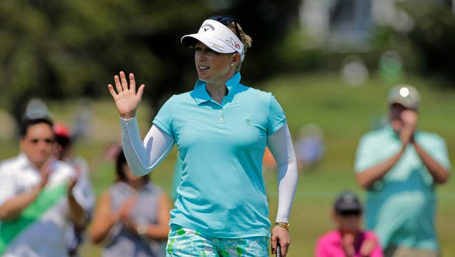 Morgan Pressel leads the ShopRite LPGA Classic by one shot heading into the second round.