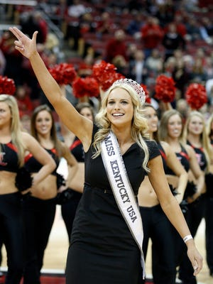 Louisville native and U of L volleyball star, Katie George, was greeted by the crowd at the KFC Yum! Center.  George was just crowned Miss Kentucky. 