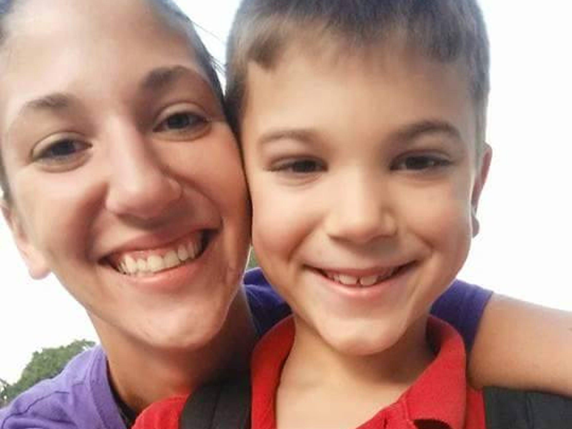 Leah LeBlanc with her son, Eli, 7.