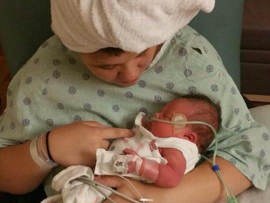 Sierra Nugent gave birth to her daughter on June 4, 2015.