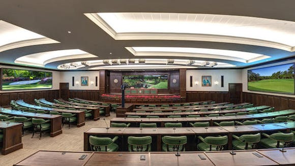 A view of the Interview Room in the new Press Building at Augusta National Golf Club. The new facility boasts a state of the art Working Arena and Interview Room, expanded suites for television, radio and photographers, new gentlemen and ladies locker rooms and a full-service restaurant.