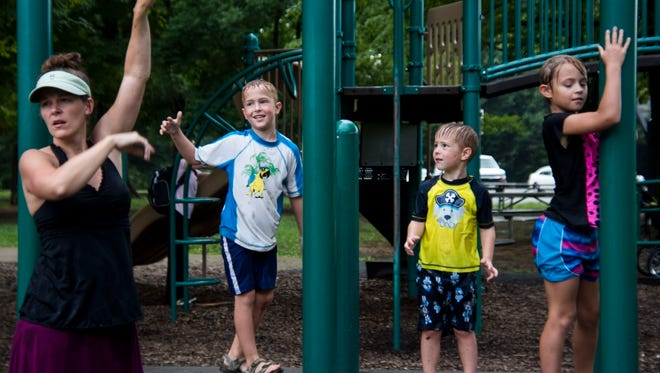"""Lindsey Coffman, from Sellersburg, Indiana, brought her six kids to Cherokee Park for the first time on Tuesday, August 2. Coffman loves having the opportunity to visit parks throughout the Louisville area, and she said was surprised at how large Cherokee Park is. """"It just keeps going!"""" she said."""