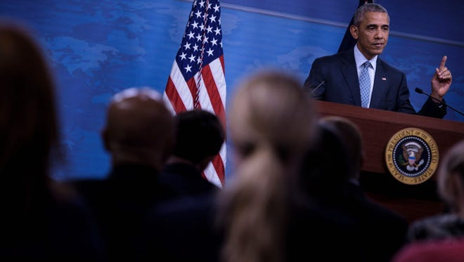 President Barack Obama during a press conference at the Pentagon in Washington, DC.