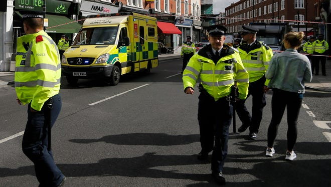 An ambulance leaves a cordon after an incident on a tube train at Parsons Green subway station in London, on Sept. 15.