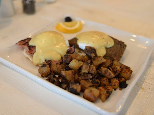 Eggs Benedict with half scrapple and half ham from Egg in Rehoboth Beach.
