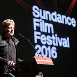 "Robert Redford, founder and president of the Sundance Institute, speaks at the premiere of ""Norman Lear: Just Another Version of You"" during the 2016 Sundance Film Festival in Park City, Utah."