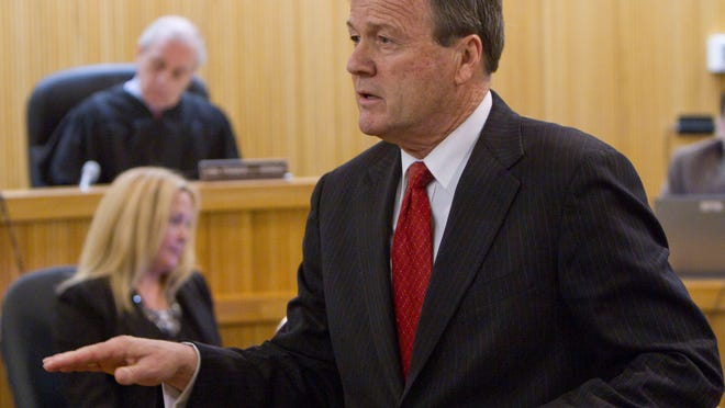 Robert Honecker, attorney for James Habel, speaks before the jury in this file photo.
