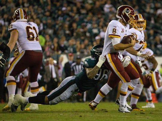 Philadelphia's Derek Barnett sacks Redskins quarterback Kirk Cousins during the fourth quarter Monday night at Lincoln Financial Field.