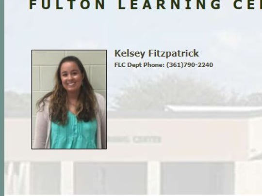 A screenshot shows Kelsey Fitzpatrick, 27, is listed on the staff directory of Fulton Learning Center on the Aransas County Independent School District's website.