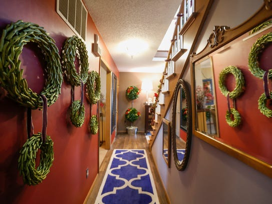 Benn decked the halls with topiary wreaths for the holidays.