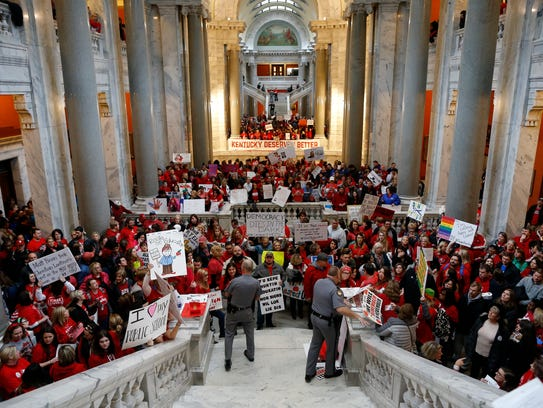 Protesters fill the Kentucky State Capitol in Frankfort,