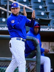 Chicago Cubs minor league hitting coordinator Chris Valaika worked as a hitting coach with the Iowa Cubs in 2018.