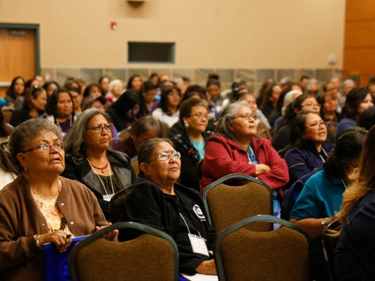 Attendees participate in the 10th Annual Celebration of Women Conference hosted by Sisters in Circle, Friday, April 20, 2018 at the Farmington Civic Center.