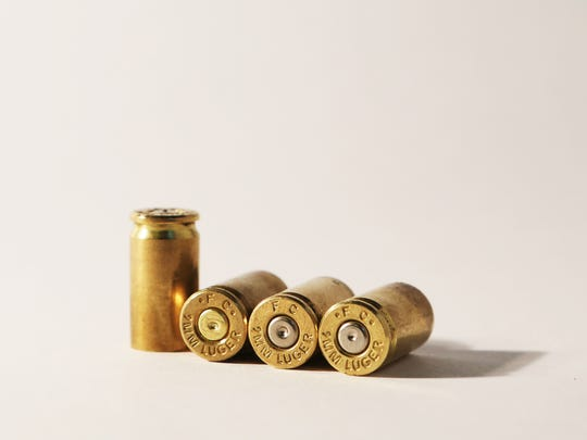 These 9mm Federal Cartridge bullet casings are the same brand and caliber as a casing found in the Day and Night Mini Mart in Blythe in August 1995. The Blythe casing is a critical clue in the case against Ernesto Martienz. Photograph taken in The Desert Sun studio. Casings provided by Second Amendment Sports in Palm Desert.