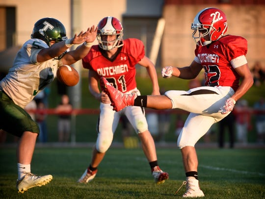 Annville-Cleona's Cameron Hoch has his punt blocked