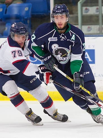 One of the players who could pile up a lot of points for the Plymouth Whalers is forward Matt Mistele (No. 22).