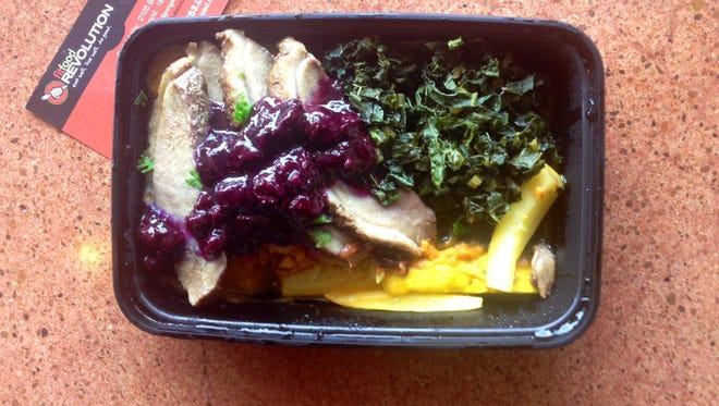 Freshly made smoked duck with blueberry jalapeno compote, kale and sweet potatoes is one of the many meals available at Fit Food Revolution, with locations in Green Hills and Brentwood.