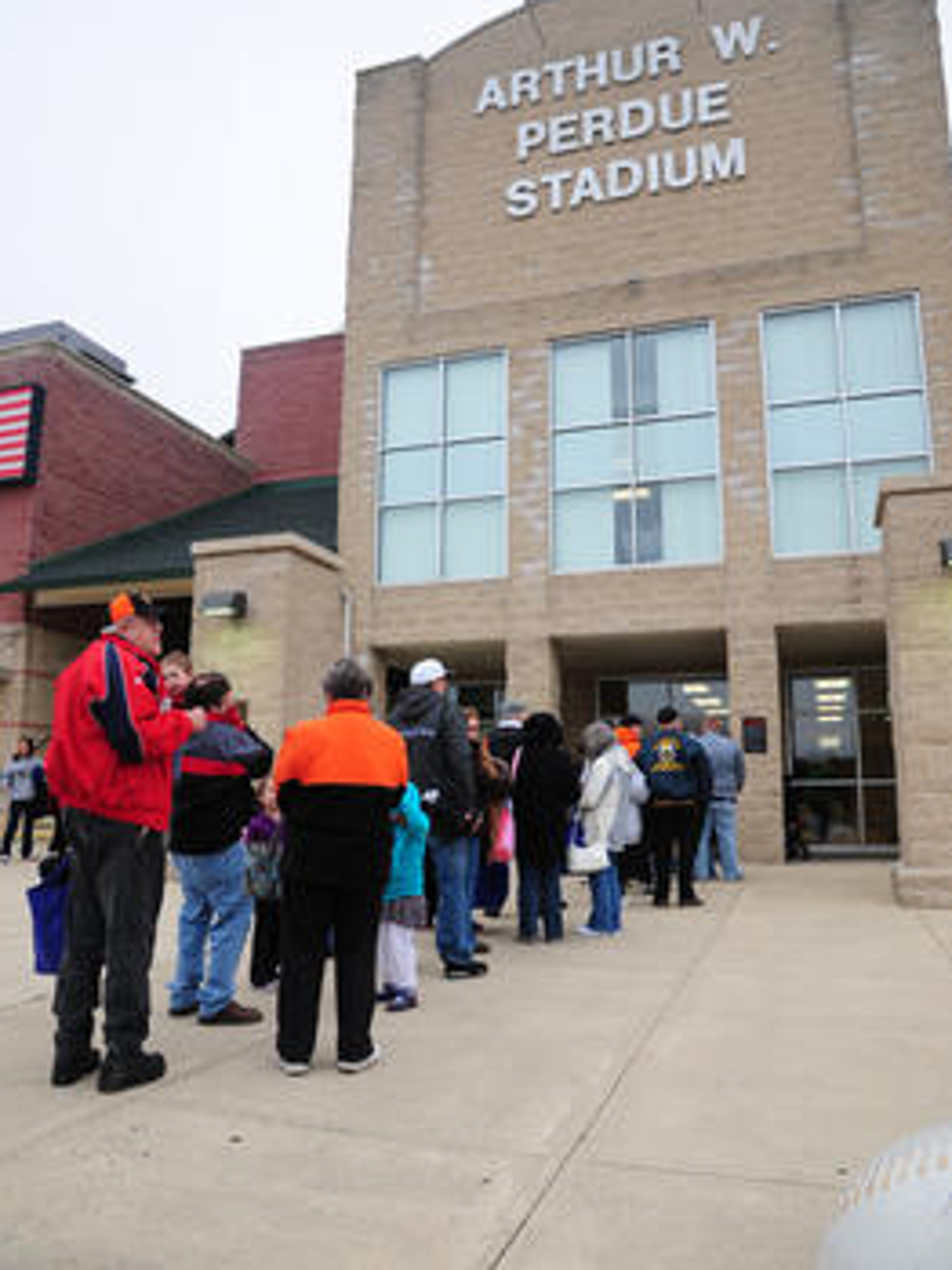 Fans lineup prior to a Shorebirds game at Arthur W.