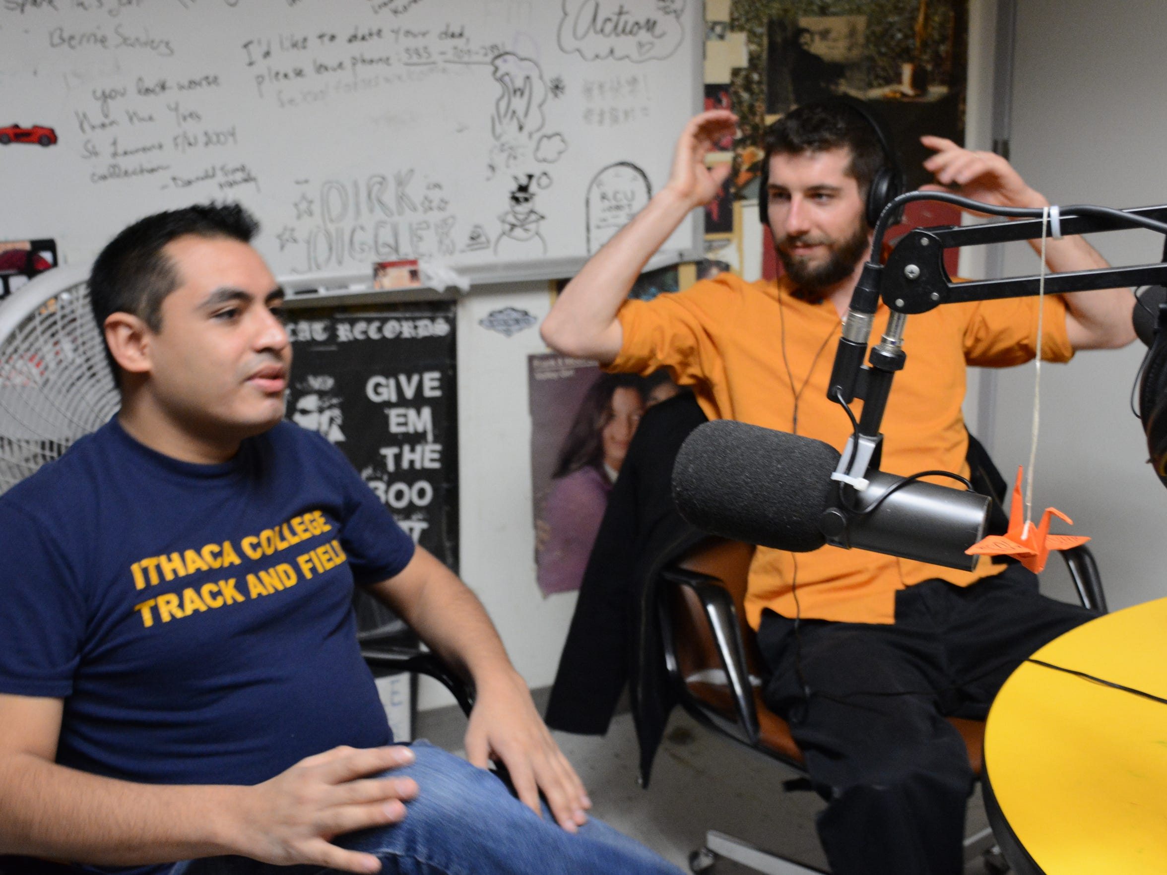 "Members of the band Molina — Jonathan Molina, left, and Nick Politi — at WHRW radio station Wednesday for an interview on ""The Signal,"" hosted by Chris Kocher."