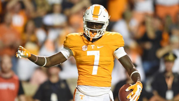 Tennessee wide receiver Preston Williams celebrates after making a touchdown against Western Carolina on Sept. 19,  at Neyland Stadium.