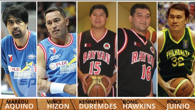 Some of the members of the PBA Legends, former Philippine Basketball Association players, who will play against an All-Star team from the Filipino Sports Association of Guam Basketball League.