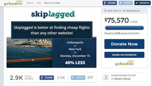 Skiplagged has raised over $75,000 on GoFundMe.com.