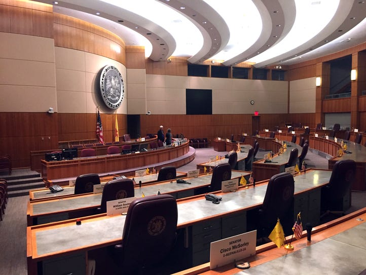 The New Mexico state Senate chamber awaits the arrival