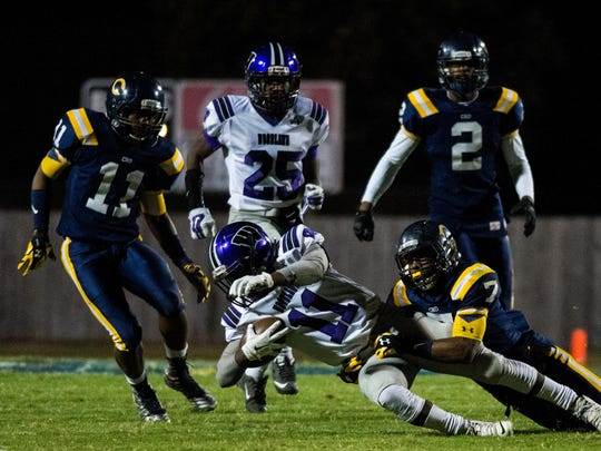 Carencro defensive backs Kordell Williams (7), Treylon Barnaba (11) and Dorian Gregory (2) are preparing for a much more physical test against No. 1-seeded Neville on Friday in the Class 4A state regional round.
