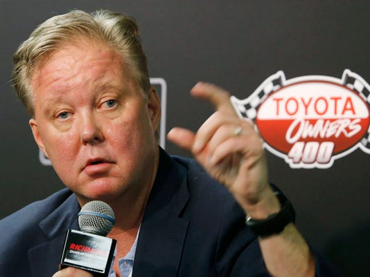 CEO and Chairman of NASCAR, Brian France, speaks to the media during a news conference prior to the NASCAR Cup Series auto race at Richmond International Raceway in Richmond, Va., Sunday, April 30, 2017. (AP Photo/Steve Helber)