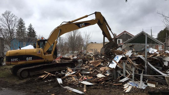 The Herkimer County Legislature unanimously voted to withdraw from the Greater Mohawk Valley Land Bank during a meeting Wednesday, leaving some land bank officials and supporters questioning the move. Pictured is one of the demolitions the land bank was able to do on Clapson Circle in West Winfield.