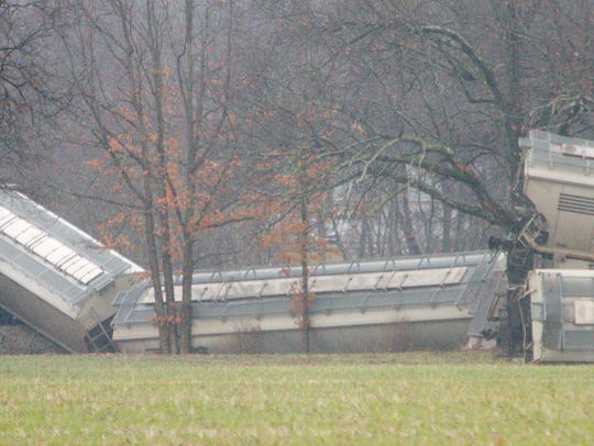 23 cars of a Great Lakes Central Railroad train derailed