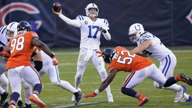Indianapolis Colts quarterback Philip Rivers throws during the second half against the Chicago Bears, Sunday in Chicago.