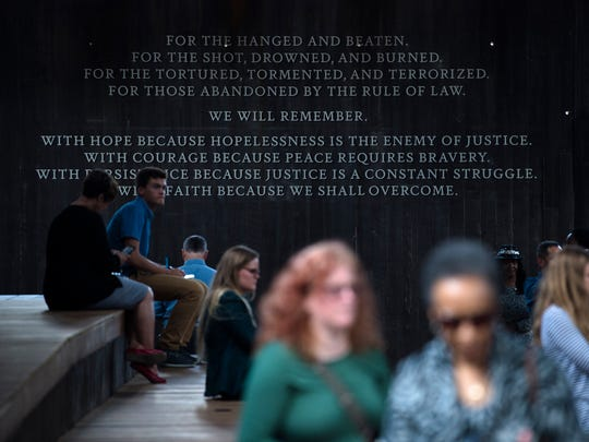 People visit EJI's National Memorial for Peace and Justice in Montgomery, Ala., on Thursday, April 26, 2018.