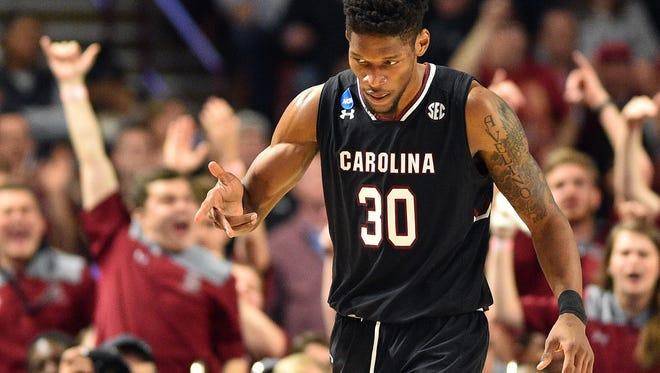 South Carolina Gamecocks forward Chris Silva (30) after posting 17 points and 10 rebounds against Duke.
