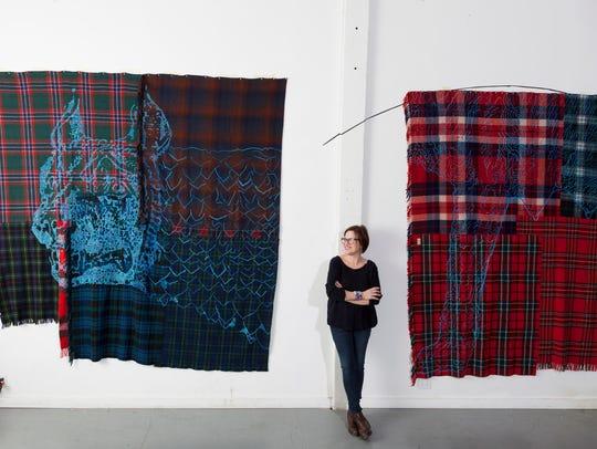 """Marie Watt's exhibit """"Blanket Stories: Western Door,"""