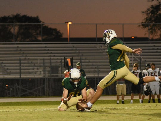 Viera's Trey Schaneville (10) kicks a field goal during the 2017 season.