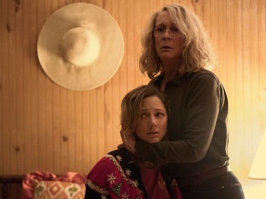 "Judy Greer (left) stars with Jamie Lee Curtis in ""Halloween,"""