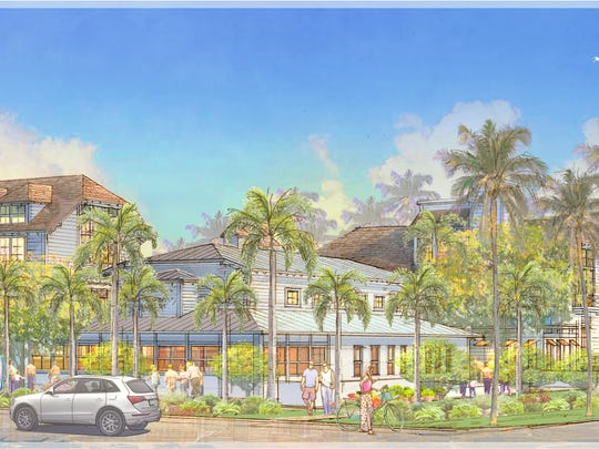 Rendering of Old Naples Hotel in downtown Naples. View from across the street.