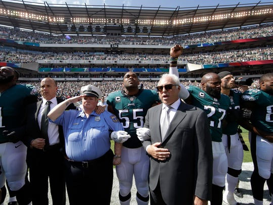 Philadelphia Eagles players and owners Jeffrey Lurie